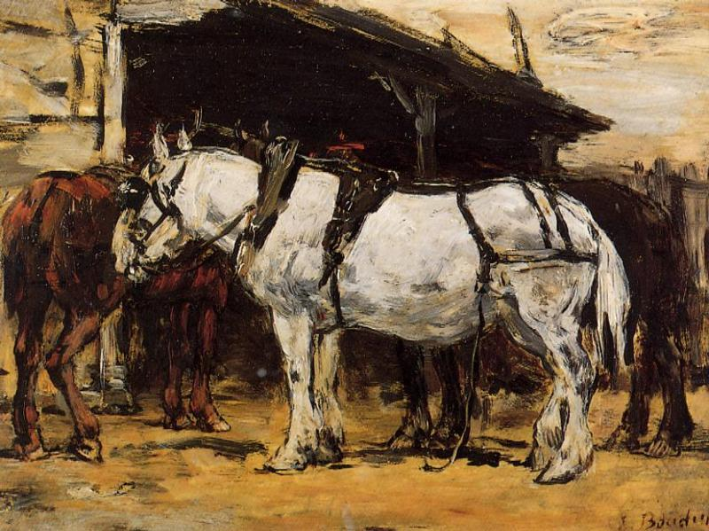 famous painting Harnessed Horses of Eugène Louis Boudin
