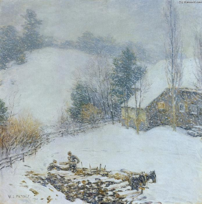famous painting Hauling Wood - Winter of Willard Leroy Metcalf