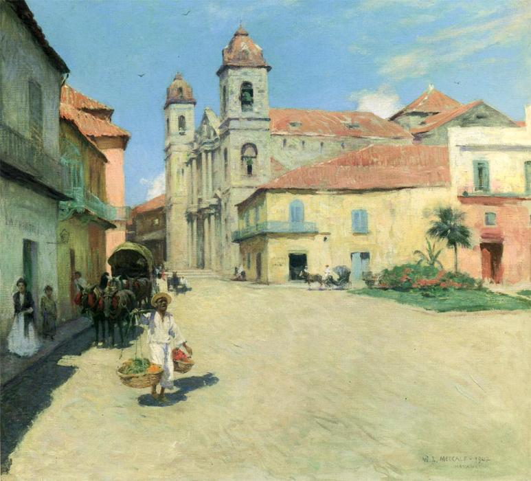 famous painting Havana Cathedral of Willard Leroy Metcalf