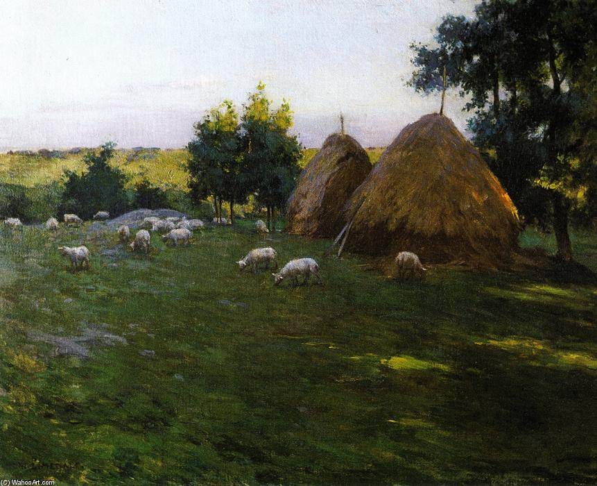 famous painting Haystacks at Sunset of Willard Leroy Metcalf