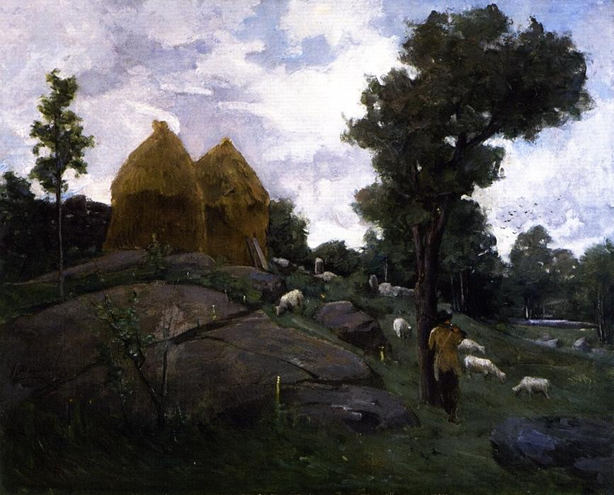 famous painting Haystacks, Shepherd and Sheep of Julian Alden Weir