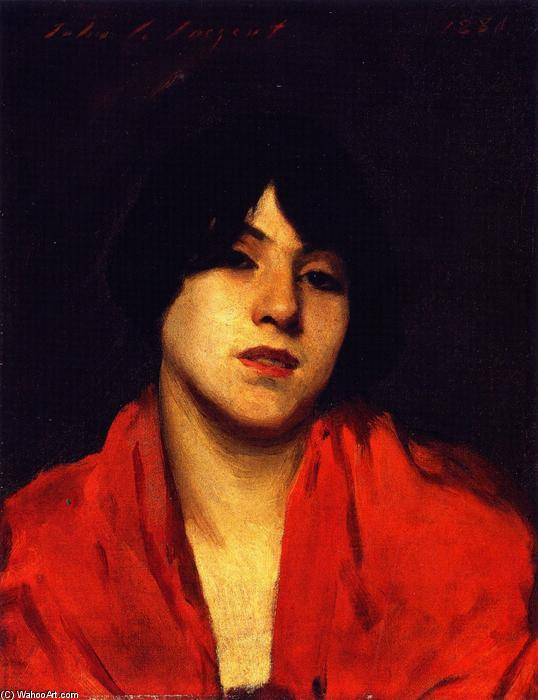 famous painting Head of a Venetian Model in a Scarlet Shawl of John Singer Sargent
