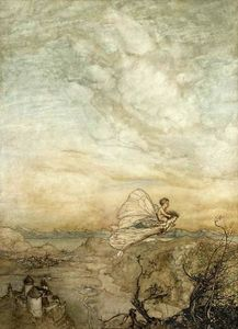 Arthur Rackham - '...her fairy sent To bear him to my bower in fairy land (also known as her fairy sent)'