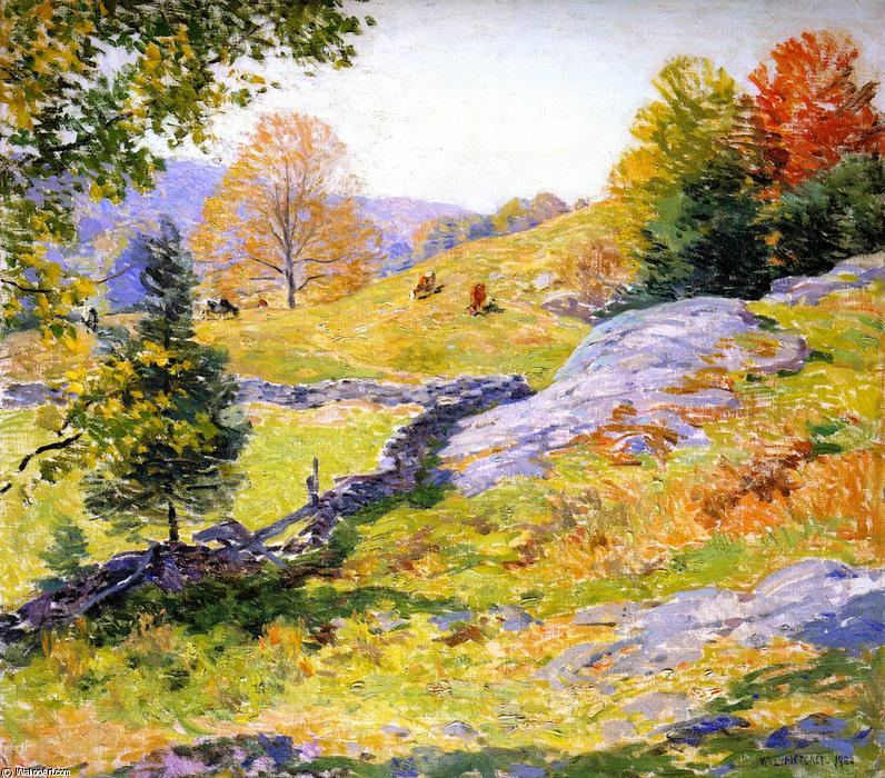 famous painting Hillside Pastures of Willard Leroy Metcalf