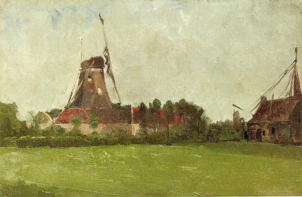 famous painting Holland (also known as Windmill in the Dutch Countryside) of John Henry Twachtman