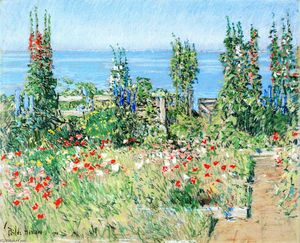 Frederick Childe Hassam - Hollyhocks, Isle of Shoals
