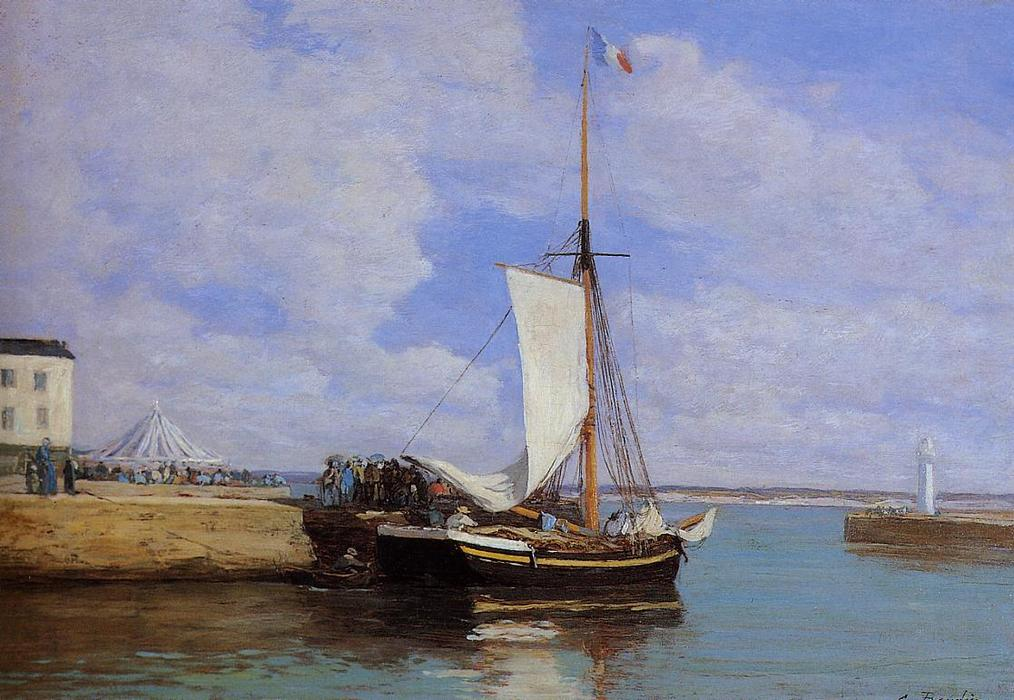 famous painting Honfleur, the Port, Docked Sailboat of Eugène Louis Boudin