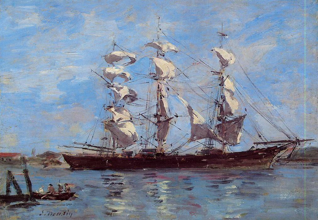 famous painting Honfleur, Three Master in Port of Eugène Louis Boudin