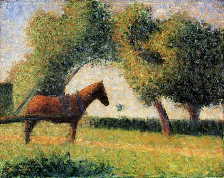 famous painting Horse and cart of Georges Pierre Seurat