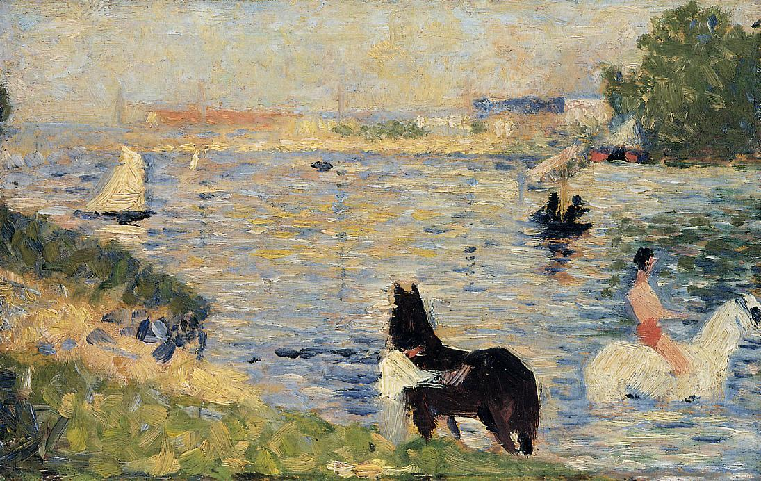 famous painting Horses in the Water of Georges Pierre Seurat