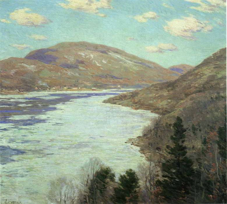 famous painting Hudson River in February of Willard Leroy Metcalf