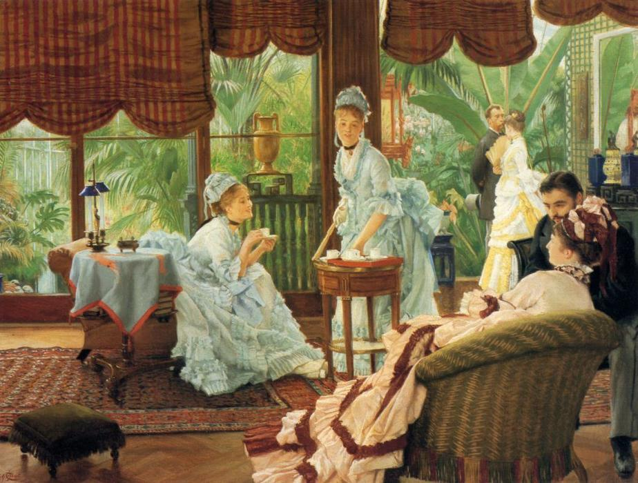 famous painting In the Conservatory (also known as The Rivals) of James Jacques Joseph Tissot