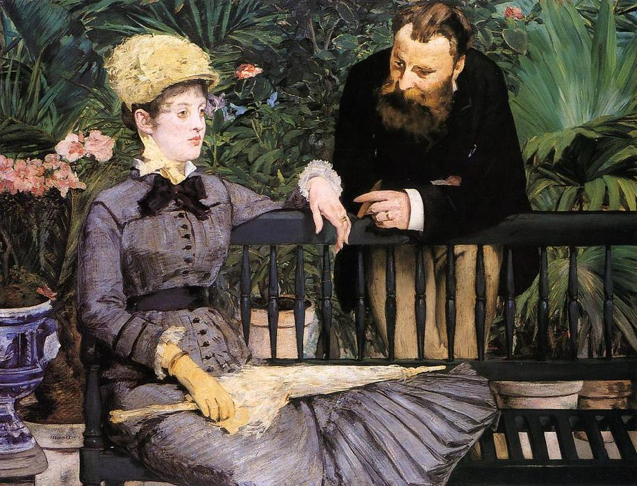 famous painting In the Conservatory of Edouard Manet