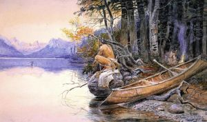 Charles Marion Russell - Indian Camp - Lake McDonald