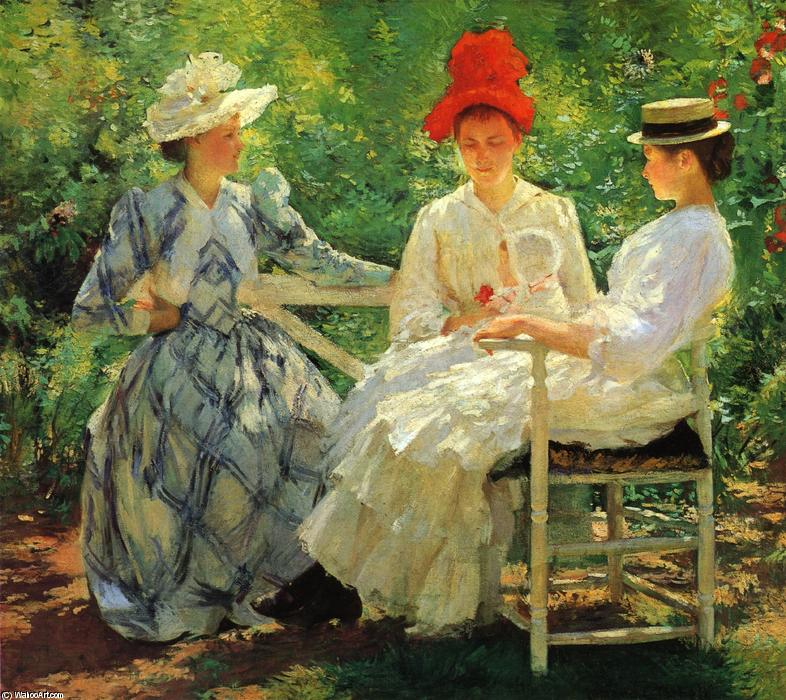 famous painting In a Garden (also known as The Three Sisters - A Study of June Sunlight) of Edmund Charles Tarbell