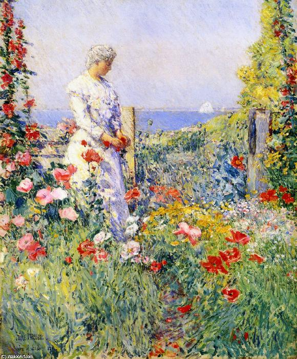 famous painting In the Garden (also known as Celia Thaxter in Her Garden) of Frederick Childe Hassam