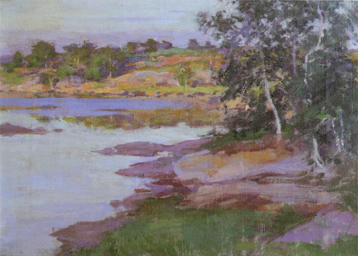 famous painting Inlet at East Boothbay Harbor of Willard Leroy Metcalf