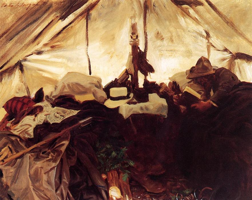 famous painting Inside a Tent in the Canadian Rockies of John Singer Sargent