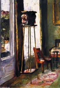 Lesser Ury - Interior (also known as Interior Scene with Woman Reading on a Terrace)