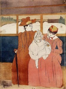 Mary Stevenson Cassatt - Interior of a Tramway Passing a Bridge