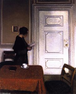 Vilhelm (Hammershøi)Hammershoi - Interior with a Woman Reading