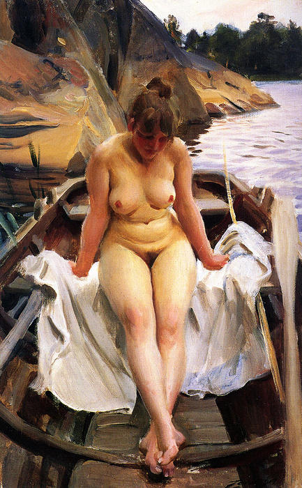 famous painting In Werner's row boat of Anders Leonard Zorn