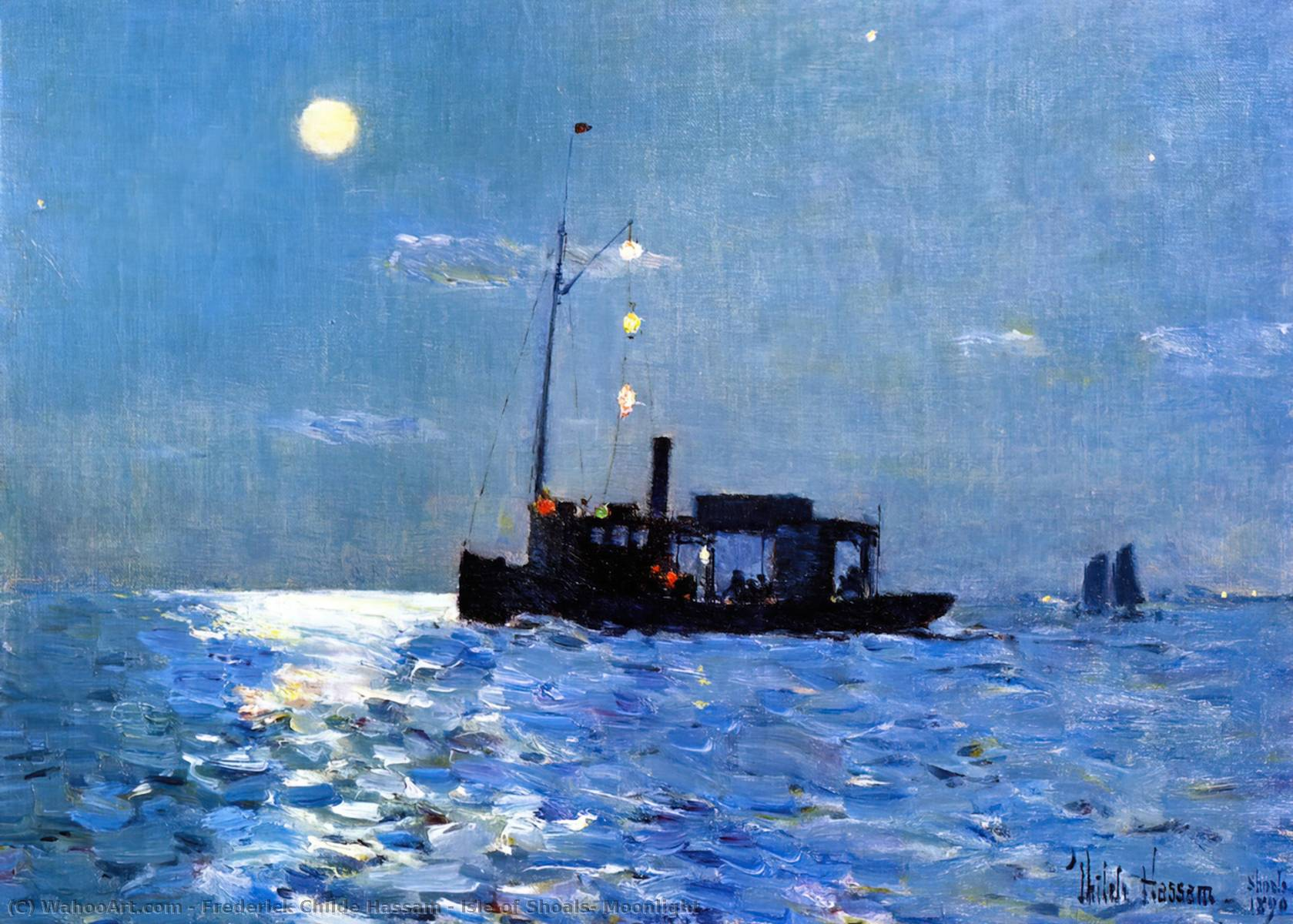 famous painting Isle of Shoals, Moonlight of Frederick Childe Hassam