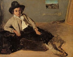 Jean Baptiste Camille Corot - Italian Youth Sitting in Corot's Room in Room
