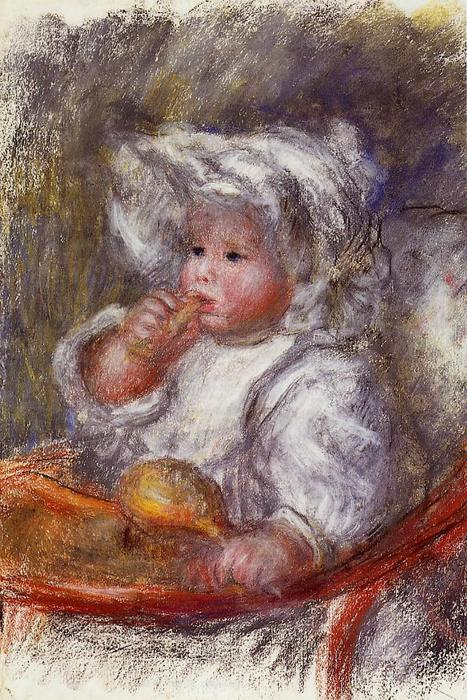 Order Museum Quality Copies Impressionism | Jean Renoir in a Chair (also known as Child with a Biscuit) by Pierre-Auguste Renoir | TopImpressionists.com