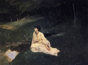 John Singer Sargent - Judith Gautier (also known as By the River or Resting by a Spring)