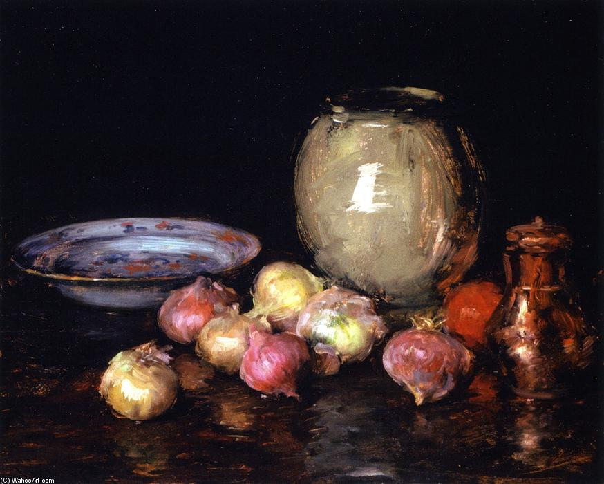 famous painting Just Onions (also known as Still LIfe - Onions, Onions) of William Merritt Chase
