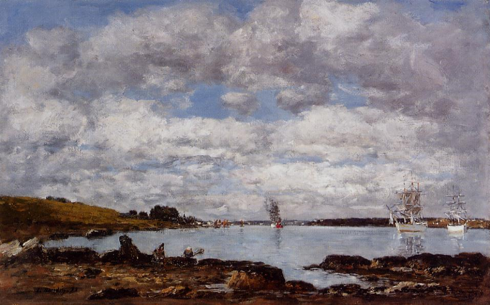 famous painting Kerhorl, the Bay, Mouth of the River Landerneau of Eugène Louis Boudin