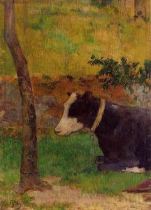 Paul Gauguin - Kneeling Cow (also known as Cow Lying at the Foot of a Tree)