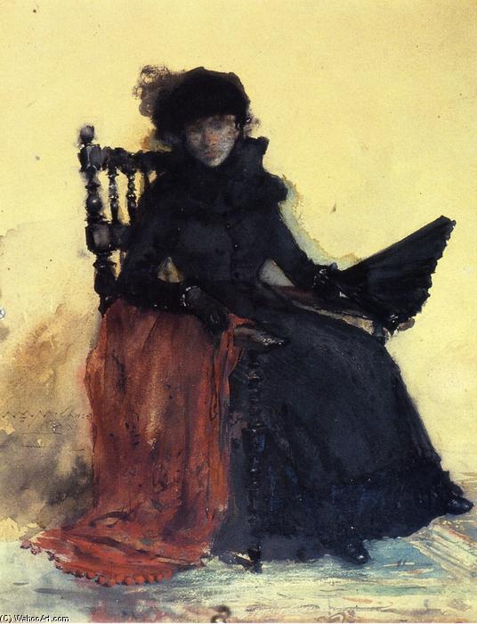 famous painting A Lady in Black (also known as The Red Shawl) of William Merritt Chase