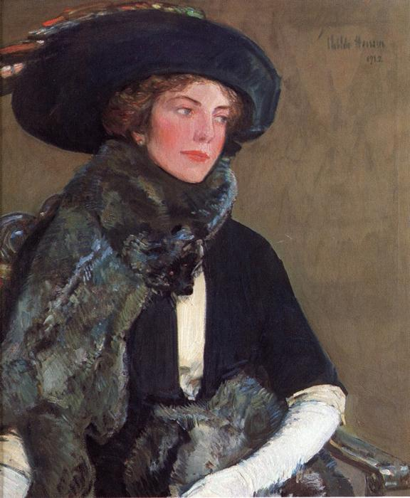 famous painting Lady in Furs (also known as Mrs. Charles A. Searles) of Frederick Childe Hassam