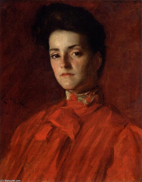 famous painting A Lady in Red of William Merritt Chase