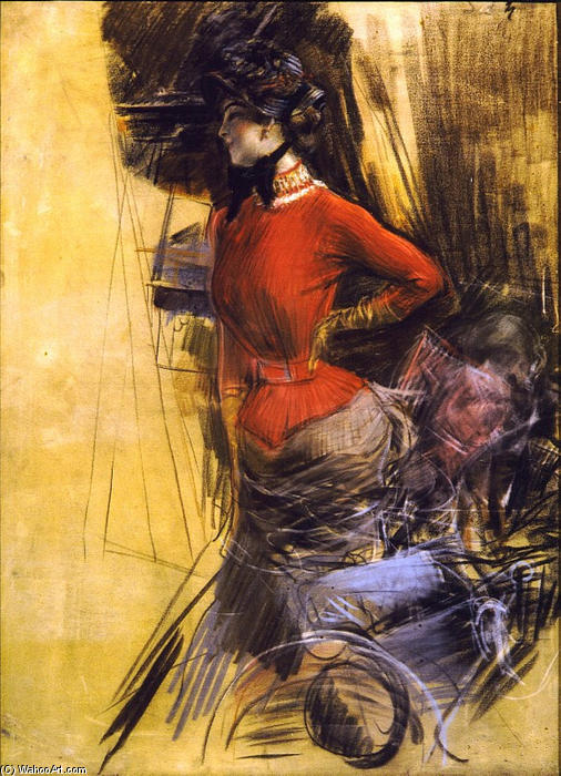 famous painting Lady in Red Coat of Giovanni Boldini