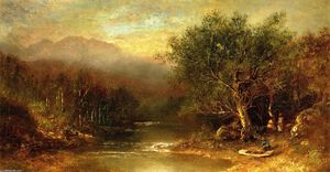 Ralph Albert Blakelock - Landscape with Figures and Boat