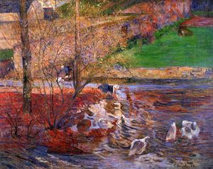 Paul Gauguin - Landscape with Geese (also known as Goose Games)