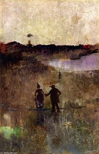 Charles Edward Conder - Landscape with Two Small Figures Richmond, New South Wales