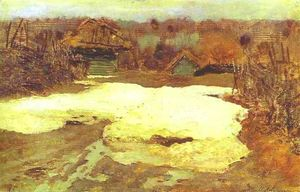 Isaak Ilyich Levitan - The Last Snow. Savvina Sloboda. Study