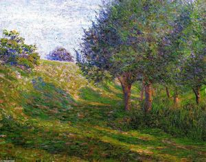 Lilla Cabot Perry - Late Afternoon - Giverny (also known as Railway Embankment - Giverny, Normandy Landscape)