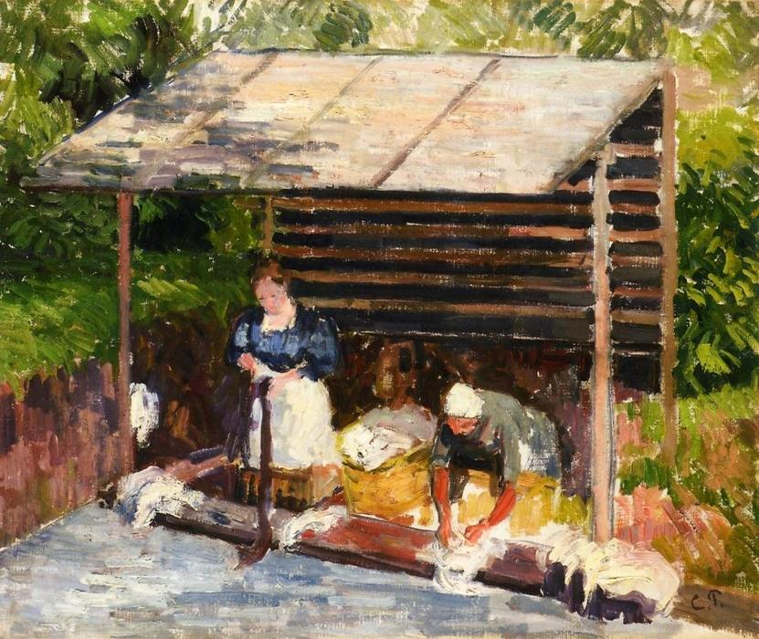 famous painting Laundresses at Eragny of Camille Pissarro