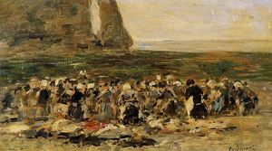 Eugène Louis Boudin - Laundresses at Etretat