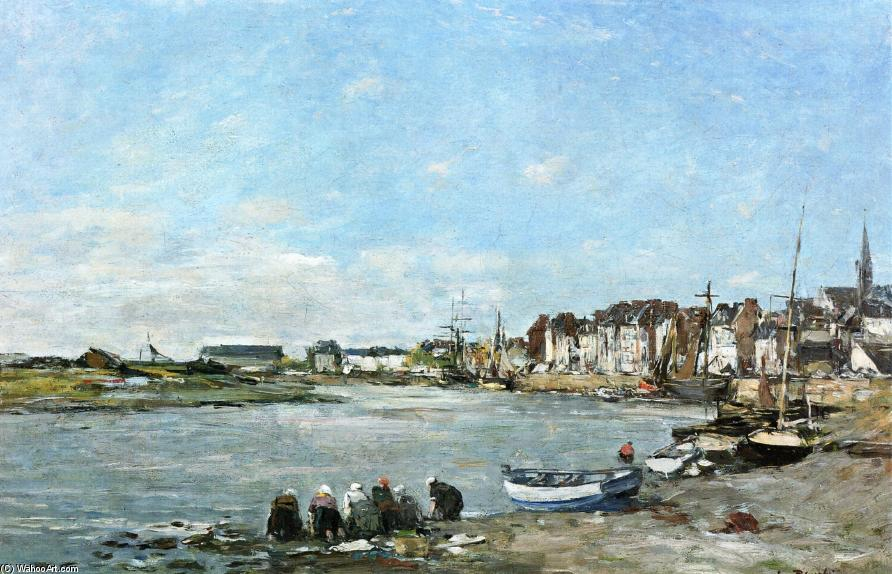 famous painting Laundresses on the Banks of the Port of Trouville of Eugène Louis Boudin