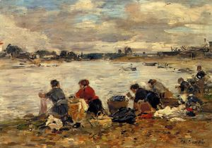 Eugène Louis Boudin - Laundresses on the Banks of the Touques (15)