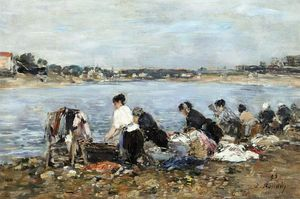 Eugène Louis Boudin - Laundresses on the Banks of the Touques (17)