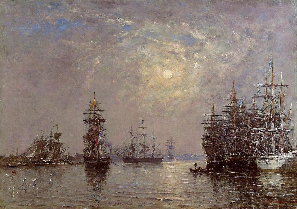 famous painting Le Havre: European Basin, Sailing Ships at Anchor, Sunset of Eugène Louis Boudin