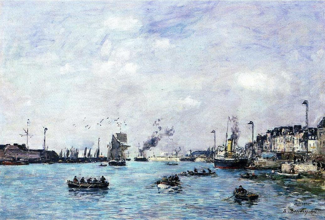 famous painting Le Havre, The Outer Harbor of Eugène Louis Boudin