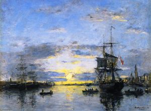 Eugène Louis Boudin - Le Havre, The Outer Harbor at Sunset